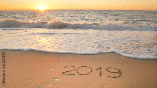 2019 year on the sea shore.