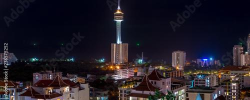 Pattaya City Skyline at night view from Pratumnak Hill overlook Thailand - 236575252