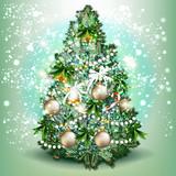 Christmas tree. Detailed realistic vector illustrat - 236578689