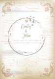 Elegant invitation card, old paper, vintage style - 236579212