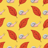 Seamless Pattern with Red Beech Leaf and Snails - 236579244