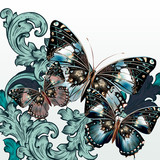 Fashion vector background with butterflies and swirls - 236579813
