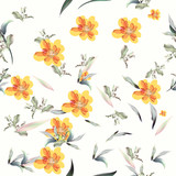 Floral pattern with flowers and foliage - 236580044