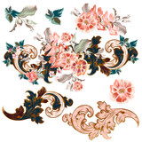Set of vector baroque ornaments with flowers - 236581882