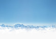Leinwandbild Motiv Panorama of winter mountains with snow. copy space background for your design