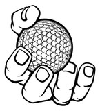 A strong hand holding a golf ball. Sports graphic