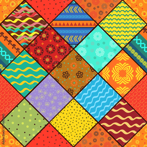 colorful patchwork seamless pattern for your design of pillow - 236601440