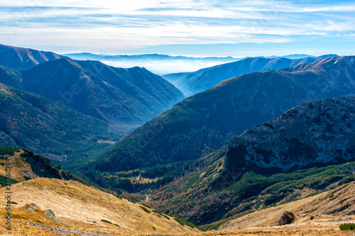 view on valley with fog in Tatra mountain in Slovakia
