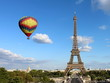Eiffel Tower with Hot Air Balloon