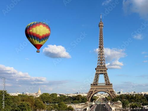 Eiffel Tower with Hot Air Balloon - 236616255
