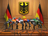 Press conference or briefing of president  or premier minister of Germany concept,. Podium speaker tribune with Germany flags and coat arms. - 236622424