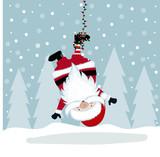Funny Christmas illustration with hanging Santa - 236629675