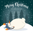 Christmas card with cute snowman and wishes