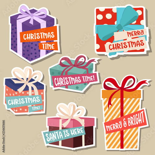 Christmas stickers collection with gift boxes - 236631666