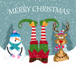 funny Christmas card with elf, snowman and reindeer - 236632004