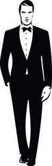 Drawing of elegant young fashion man in tuxedo posing © Ana