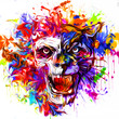 Colored skull isolated on white background - 236643897