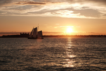 New York upper Bay Sunset with sailing ship