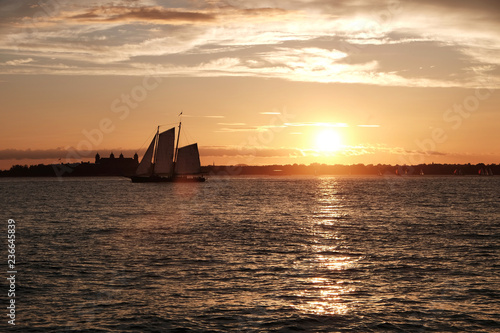 Foto Murales New York upper Bay Sunset with sailing ship