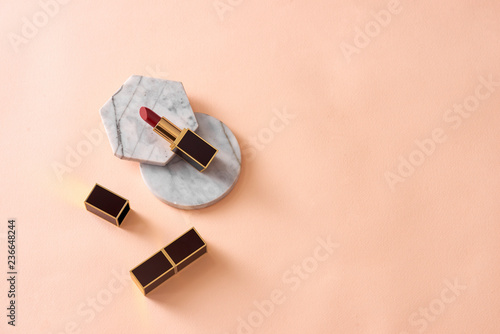 Red matte lipstick style on pastel isolated background - 236648244