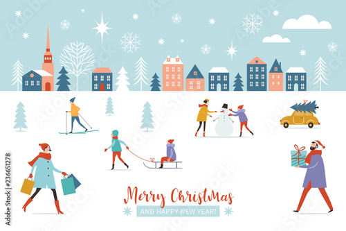 christmas banner winter scene christmastime christmas and new year greeting card flat