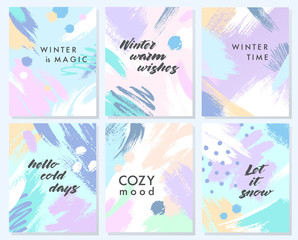 Collection of unique holidays cards with hand drawn shapes and textures in soft pastel colors.Trendy greetings design perfect for prints,flyers,banners,invitations and more.Vector winter collages.