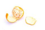 Peeled mandarin, mandarin on a white background