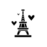 Eiffel tower black icon, concept vector sign on isolated background. Eiffel tower illustration, symbol