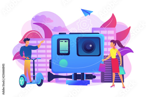 Businessman riding segway on the city tour, shopper and action camera. City segway tours, modern urban tourism, city tourist excursion concept. Bright vibrant violet vector isolated illustration - 236666843