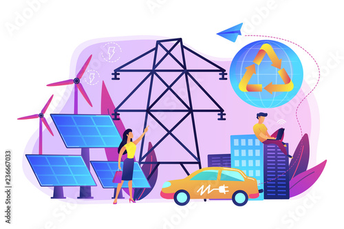 Business people use clean renewable electric energy in the city. Renewable energy, renewable power resources, rural energy services concept. Bright vibrant violet vector isolated illustration - 236667033