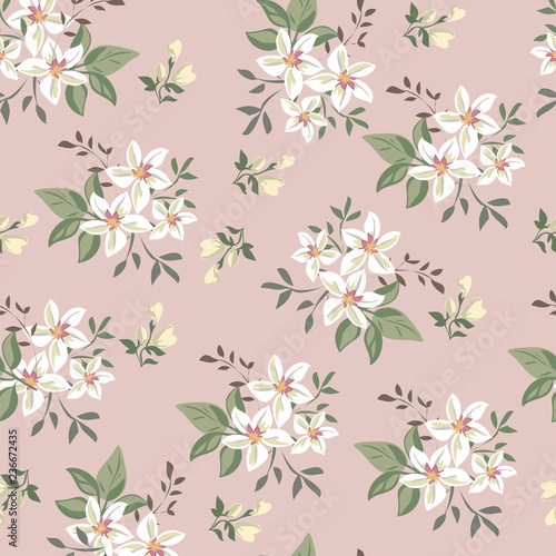 Seamless vintage floral pattern for gift wrap and fabric design - 236672435