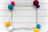Colorful balls of knitting yarn. Color yarn for knitting - 236708415