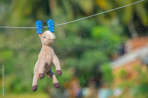 toy horse hanged on a wire using cloth clips