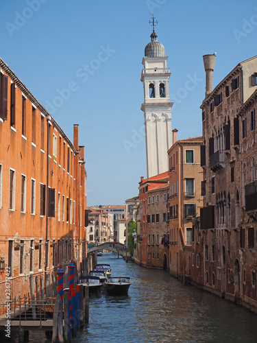 Venice, Italy. Wonderful views through the narrow canals of the town