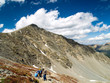 Hikers on the Trail to the Summit of Grays Peak in Colorado, USA
