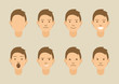 A set of emotions. 8 types of male faces. Different moods vector images.