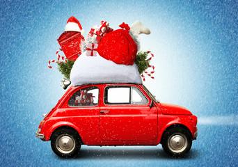 Christmas car Santa Claus with gift bag