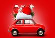 Leinwandbild Motiv Christmas car Santa Claus with gift bag