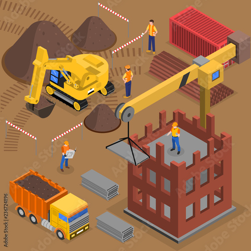 Building Crane Isometric Composition - 236724896