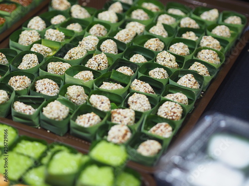Thai dessert sweets in banana leaves