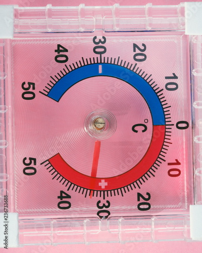 Outdoor Window Wall Thermometer on pink background - 236733688
