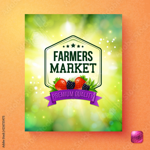 Colorful fresh green poster for a Farmers Market - 236735475