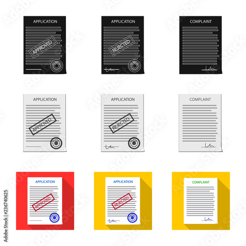 Vector design of form and document icon  Set of form and mark stock