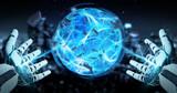 White robot hand creating energy ball 3D rendering