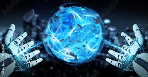 Leinwanddruck Bild White robot hand creating energy ball 3D rendering