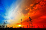 Electric tower, silhouette at sunset - 236747843