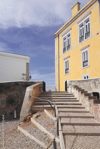 Architektura Lizbony Portugalii. Widok miasta. Retro budynki.