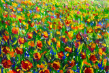 flower field modern colorful wild flowers canvas abstract close paint impasto oil - Impressionism modern oil paintings fragment