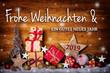 Leinwanddruck Bild - Frohe Weihnachten -  Grußkarte, Weihnachtskarte