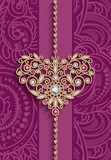 Vintage gold jewellery heart on pink background